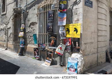 AVIGNON, FRANCE - JULY 5, 2017: Festival d'Avignon affiche/poster. Today one of the most important contemporary performing arts events in the world.