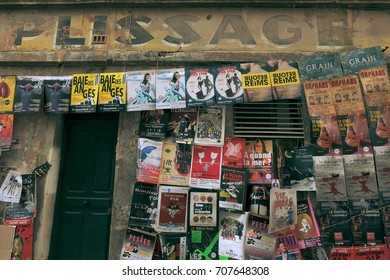 AVIGNON, FRANCE - JULY 8 2017: Theatre posters strung in the city