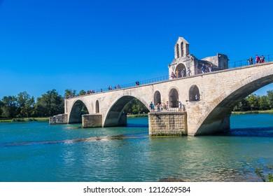 AVIGNON, FRANCE - JUNE 12, 2016:  Saint Benezet bridge in Avignon in a beautiful summer day, France
