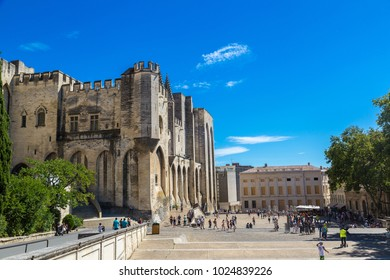 AVIGNON, FRANCE - JUNE 15, 2016: Papal palace in Avignon in a beautiful summer day, France on June 15, 2016
