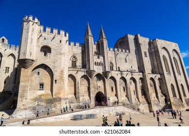 AVIGNON, FRANCE - JUNE 15, 2016: Papal palace in Avignon in a summer day, France on June 15, 2016