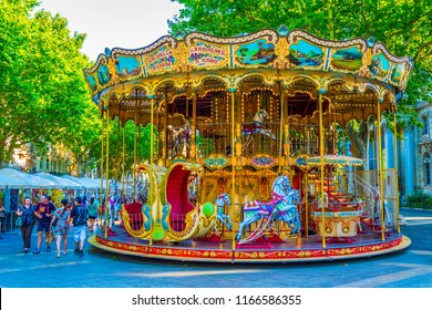 AVIGNON, FRANCE, JUNE 18, 2017: Merry-go-round on a square in Avignon, France
