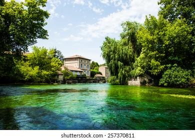 Avignon France.  Lake and a villa.