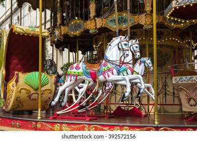 AVIGNON, FRANCE - MAY 04, 2015: Carousel horse in historical centre of Avignon, southern France