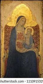 AVIGNON, FRANCE - OCT 1, 2011 - Madonna and child, Renaissance painting,  Petit Palace, Avignon, France