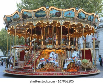 AVIGNON, FRANCE - OCTOBER 11  Traditional fairground carousel in Avignon on October 11, 2013   Avignon is a showcase of arts and culture, the fame of its annual theater festival the Festival d Avignon