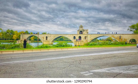 Avignon France - October 28,2018:  The Pont d'Avignon, is a famous medieval bridge in the town of Avignon, in southern France.