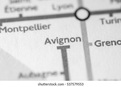 Avignon, France on a geographical map.