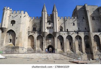 Avignon, France - September 30, 2019: Facade of the medieval palace of the popes in Avignon, France on September 30, 2019