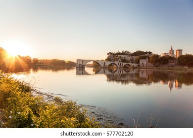 Avignon old bridge against sunset in Provence, France