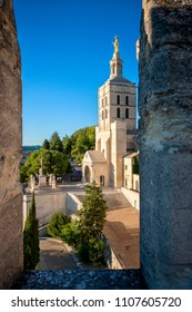 Avignon - Palais des Papes. Popes Palace in Avignon in a beautiful summer day, France