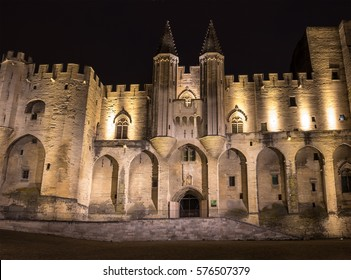 Avignon pope palace in the night, France