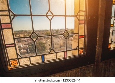 Avignon, Provence / France - September 27, 2018: Beautiful windows with stained glass windows in the interior of the Papal Palace