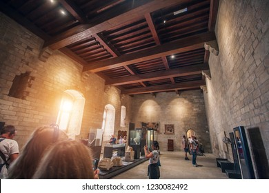 Avignon, Provence / France - September 27, 2018: Tourists in the interior of the Papal Palace