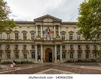 Avignon, Vaucluse / France Sept. 14, 2016: The Avignon City Hall (Hotel de Ville d'Avignon) is located on the town's main square, Place de l'Horlage.