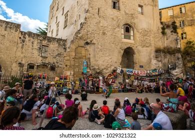 Avignon/France - 07 14 2016: Avignon theatre festival in summer 2016