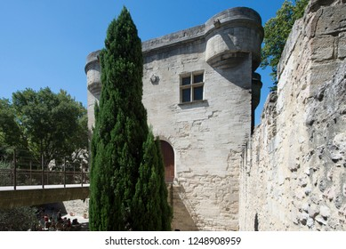 Avignon/France - August 10 2016: Architecture detail of Pont Saint-Bénézet, Avignon. The Pont Saint-Bénézet, also known as the Pont d'Avignon, is a famous medieval bridge in the town of Avignon.