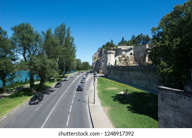 Avignon/France - August 10 2016: Boulevard de la Ligne avenue, in Avignon, France. Avignon is a city in south-eastern France in the department of Vaucluse on the left bank of the Rhône river.