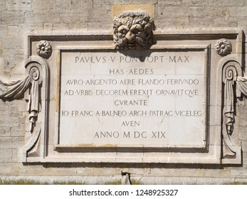 Avignon/France - August 10 2016: Medieval plaque on a building in the Place du Palais square in Avignon. Avignon is a commune in south-eastern France in the department of Vaucluse.