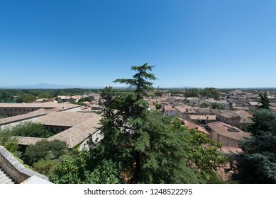 Avignon/France - August 10 2016: Overview of Avignon seen from the Rocher des Doms vantage point. Avignon is a city in south-eastern France in the department of Vaucluse.