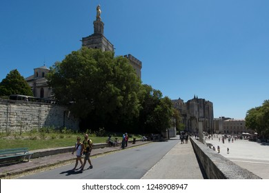 Avignon/France - August 10 2016: Place du Palais square, Avignon. Avignon is a city in south-eastern France in the department of Vaucluse on the left bank of the Rhône river.