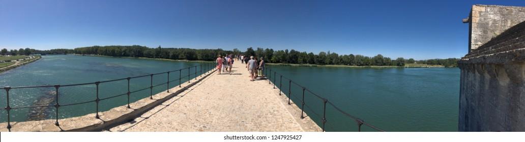 Avignon/France - August 10 2016: Pont Saint-Bénézet panorama, Avignon, France  The Pont Saint-Bénézet, also known as the Pont d'Avignon, is a famous medieval bridge in the town of Avignon.