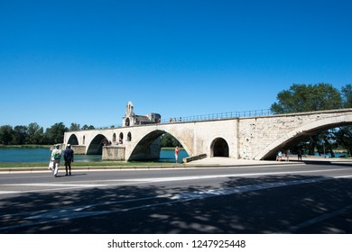 Avignon/France - August 10 2016: Pont Saint-Bénézet, Avignon, France  The Pont Saint-Bénézet, also known as the Pont d'Avignon, is a famous medieval bridge in the town of Avignon, in southern France.