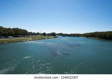 Avignon/France - August 10 2016: Rhône river seen from Pont Saint-Bénézet. The Pont Saint-Bénézet, also known as the Pont d'Avignon, is a famous medieval bridge in the town of Avignon.