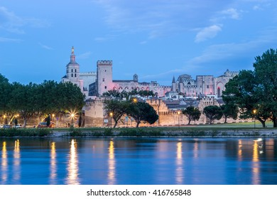 Avignon,France, night view  with the Papal Palace.