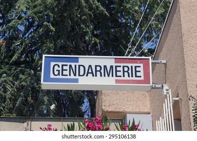 avignon,france-june 24, 2015: sign of the french gendarmerie on a wall in avignon