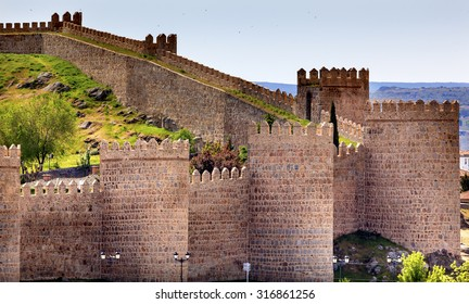 Avila Ancient Medieval City Walls Castle Castile Spain.  Avila is described as the most 16th century town in Spain.  Walls created in 1088 after Christians conquer the city from the Moors