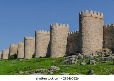 Avila de los Caballeros stone wall, Avila, Castile and Leon, Spain