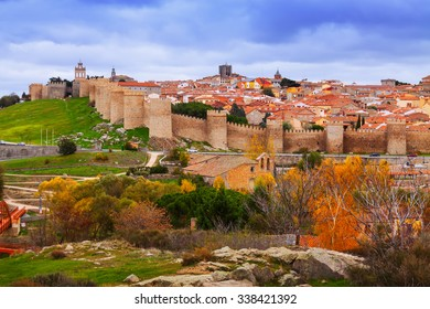 Avila with its famous town walls. Spain
