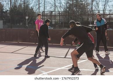Avila, Spain; 01/05/2019: The Kings of the Wall, sport initiative to promote basquet in Avila