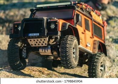 Avila, Spain; 08/15/2020: RC 4WD cars driven off-road the city
