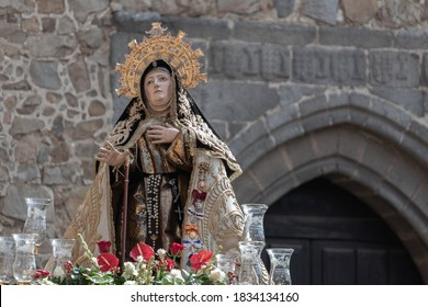 Avila, Spain; 10/15/2019: Procession in honor to Saint Theresa. Sculpture of the Saint, by Gregorio Fernandez.