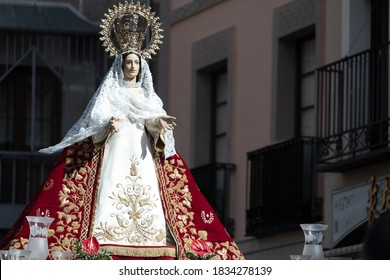 Avila, Spain; 10/15/2019: Procession in honor to Saint Theresa. Sculpture of the Virgin of the Charity
