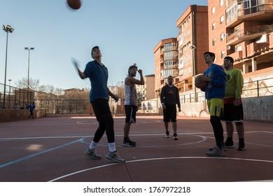 Avila, Spain; 12/30/2018: The Kings of the Wall, sport initiative to promote basquet in Avila