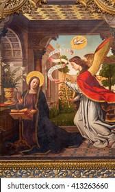 AVILA, SPAIN, APRIL - 18, 2016: The paintig of The Annunciation on the main altar of Catedral de Cristo Salvador by Juan de Borgona (1512).