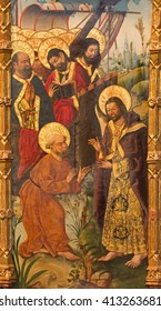 AVILA, SPAIN, APRIL - 18, 2016: The painting of Apparition of Jesus to st. Peter and the apostles by Fernando Gallego (15. cent.) in Catedral de Cristo Salvador in chapel Capilla de San Pedro.