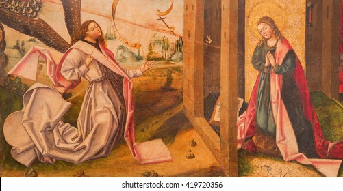 AVILA, SPAIN, APRIL - 18, 2016: The Annunciation painting on the wood in Catedral de Cristo Salvador in Capilla del Cardenal by unknown artist from 15. cent.