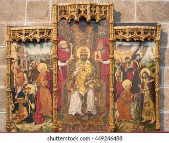 AVILA, SPAIN, APRIL - 18, 2016:The gothic side altar of St. Peter by Fernando Gallego (15. cent.) in Catedral de Cristo Salvador in chapel Capilla de San Pedro.
