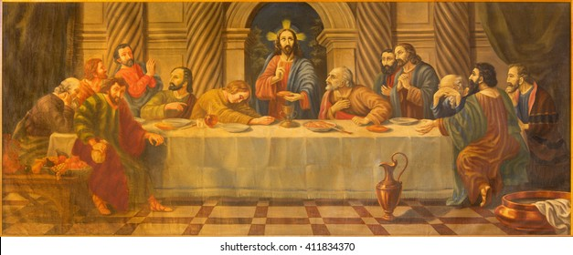 AVILA, SPAIN, APRIL - 19, 2016: The Last supper painting from 18. cent. in church Convento San Antonio by unknown artist.