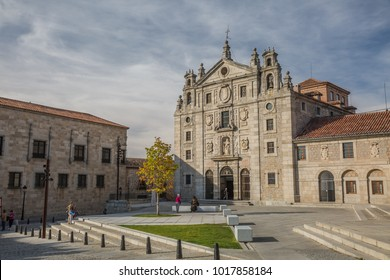 Avila, Spain - october, 2016: cityscape. view of square in the front of Santa Teresa Convent in Avila, Spain