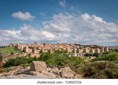 Avila, Spain - September 2017: Panorama form Four Posts Monument
