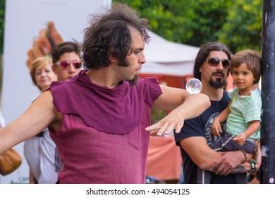 AVILA, spain September 5, 2015: juggler during the medieval market in Avila, Spain