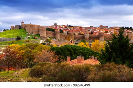 Avila with  town walls in autumn. Spain