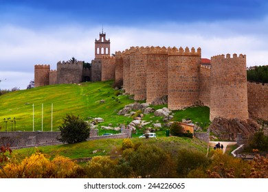 Avila with its  town walls. Spain