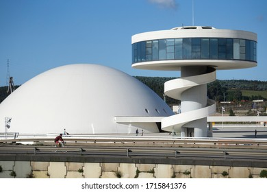 Aviles, Spain- September 6, 2019: View of Niemeyer Center  in Aviles. The cultural center was designed by Brazilian architect Oscar Niemeyer, was his only work in Spain.