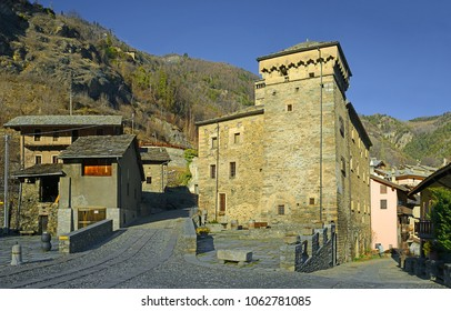 Avise - The village streets. Avise is a comune in the Aosta Valley region of northwestern Italy. One of the castles that guarded the trade route to France
